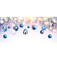 christmas decorations with blue balls and fir vector image