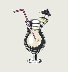 cocktail glass pina colada with umbrella straw vector image