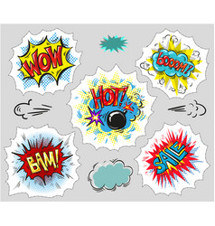 Collection of comic text pop art style vector