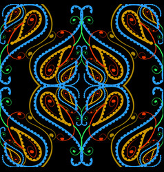 colorful floral paisley seamless pattern hand vector image