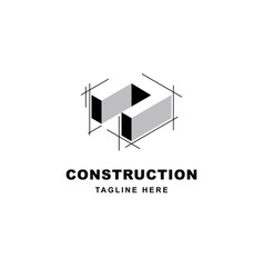 Construction logo design with letter n shape icon vector