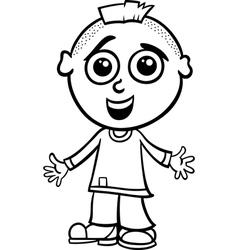 cute boy cartoon coloring page vector image
