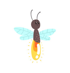 Cute cartoon firefly character vector