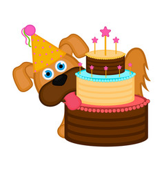 cute dog with a party hat and a cake vector image