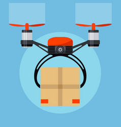 Drone with paper package box delivery order vector