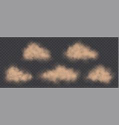 dust clouds set road dirt brown sandstorm vector image