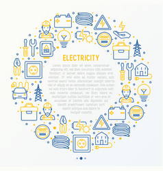 electricity concept in circle with thin line icons vector image