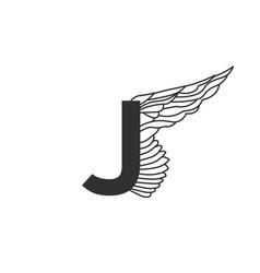 elegant dynamic letter j with wing linear design vector image
