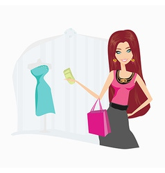 fashion shopping girl with shopping bags vector image