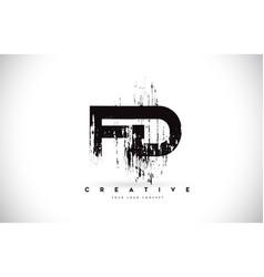 Fd f d grunge brush letter logo design in black vector