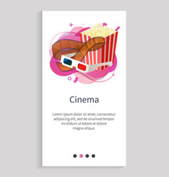 film decorations glasses and popcorn roll vector image