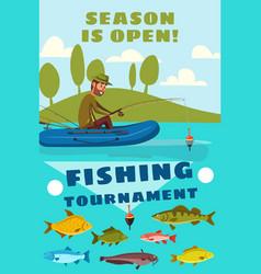 Fishing season or fisherman tournament poster vector
