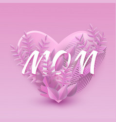 flat mom inscription with purple leaves background vector image