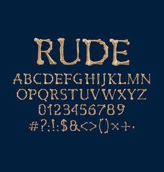 Font with bone letters creepy type vector