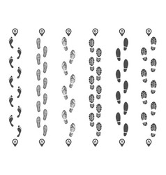 footsteps track routes footprint trail footstep vector image
