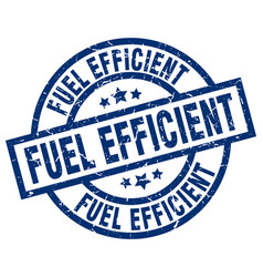 Fuel efficient blue round grunge stamp vector