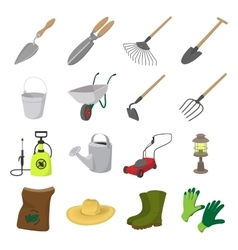 Garden cartoon icons set vector image
