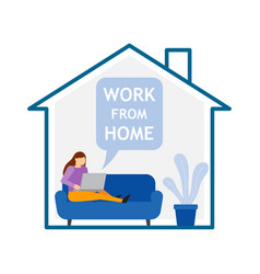 girl with laptop sitting on sofa at home work vector image