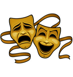 Gold comedy and tragedy theater masks vector