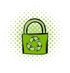Green eco bag comics icon vector