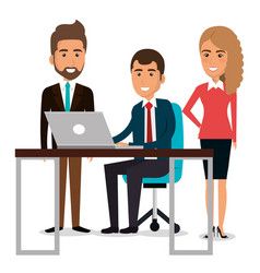 Group of businespeople in the work place teamwork vector