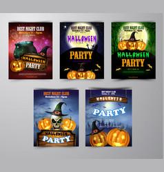 Halloween vertical background with pumpkins vector