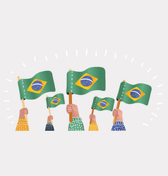 hand of fans with the flag of brazil vector image
