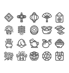 happy chinese new year icon set vector image