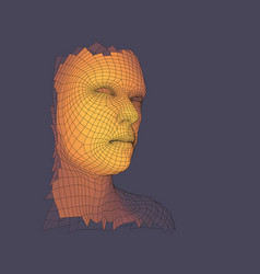 Head of the person from a 3d grid view of human vector