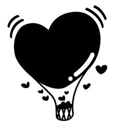 Heart hot air balloon eps vector