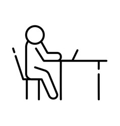 Human figure in laptop computer avatar line style vector