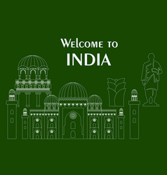 in flat design style with some sights of india vector image