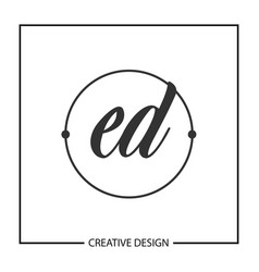 initial letter ed logo template design vector image