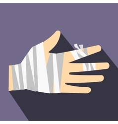 Injured hand wrapped in bandage icon flat style vector image