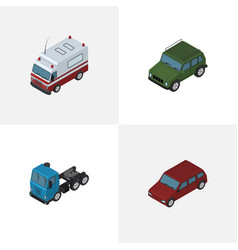 isometric automobile set of first-aid truck car vector image