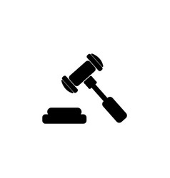 judge or auction hammer icon black on white vector image