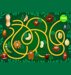 Kids game maze with cute nuts cartoon characters vector