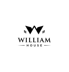 letter w with house or home logo design concept vector image