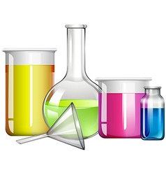 Liquid substance in glass containers vector