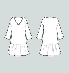 Long dress with sleeves front and back views vector