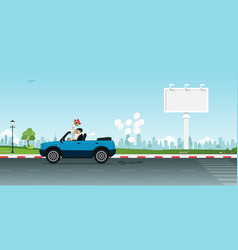 married couple driving vector image