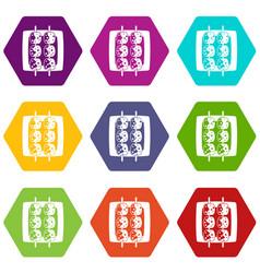 Meat shashlik icon set color hexahedron vector