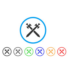 medieval swords rounded icon vector image