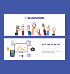 Mobile payment and mobile banking concept flat vector