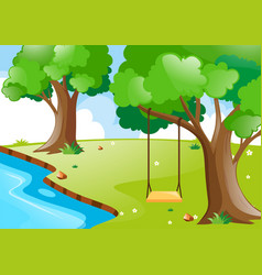 nature scene with river and trees vector image