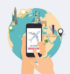 Online booking ticked buy ticket traveling vector