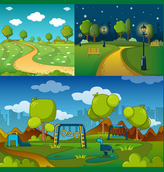 Park alley way banner concept set cartoon style vector