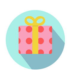 Pink gift boxes with red circle pattern vector