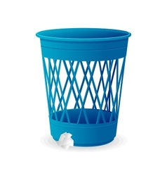 Plastic blue basket trash bins on white vector