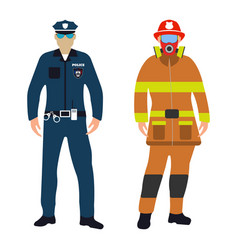policeman and fireman cartoon icon service 911 vector image
